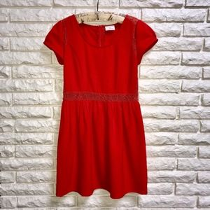 UO Pins & Needles Coral Red Fit N Flare Dress Sz 8